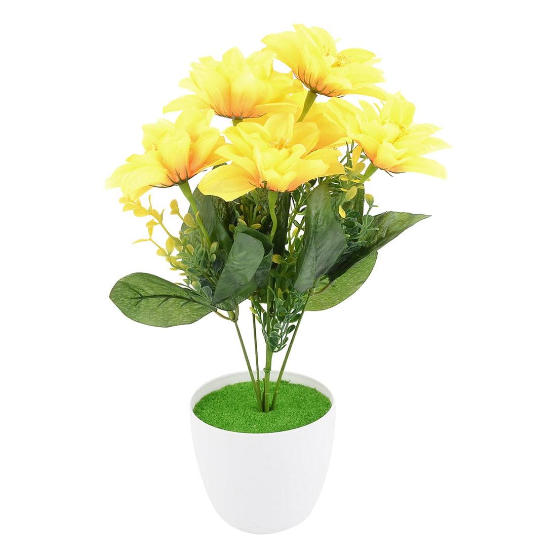 Unique Bargains Office Plastic DIY Craft Ornament Artificial Simulation Flower Bouquet Yellow