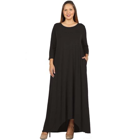 JED FASHION Women\'s Plus Size Asymmetric Hem Maxi Dress with Pockets