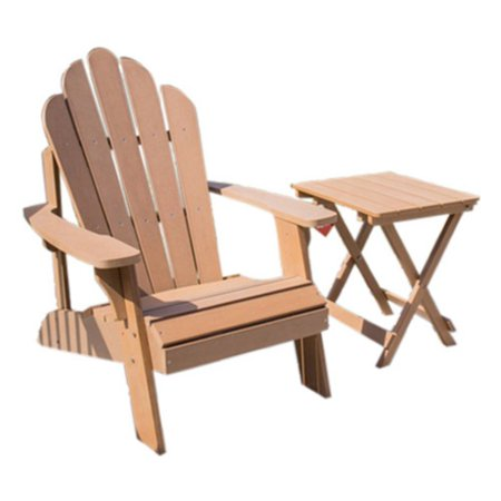 - Ironwood Adirondack Chair & Table Set - Natural Wood Color