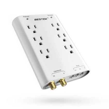 BESTEK Wall Surge Protector Power Strip ,Outlet Extender with 6-Outlet Wall Mount Power Strip 740 Joule with Cable / Satellite / Telephone / Coaxial / Ethernet Protection, UL Listed(White)