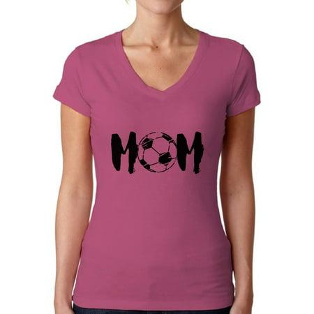 Awkward Styles Women's Soccer MOM Mothering V-neck T-shirt Black Sport Mom Mother's Day Gift - Soccer Mom Emoji