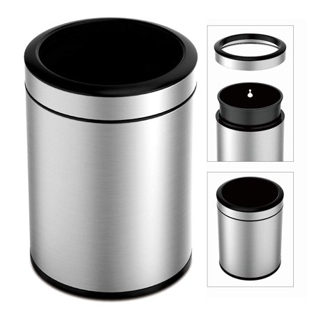 TEXAS RAGTIME Stainless Steel Trash Can for Kitchen, Bathroom, Office, 12L 3 Gallon Open Top Round Trash Cans and Bins for Home Durable, Fingerprint Resistant Garbage Can Plastic Liner Bag Holder 12 L 38 Gallon Steel Hinged Top