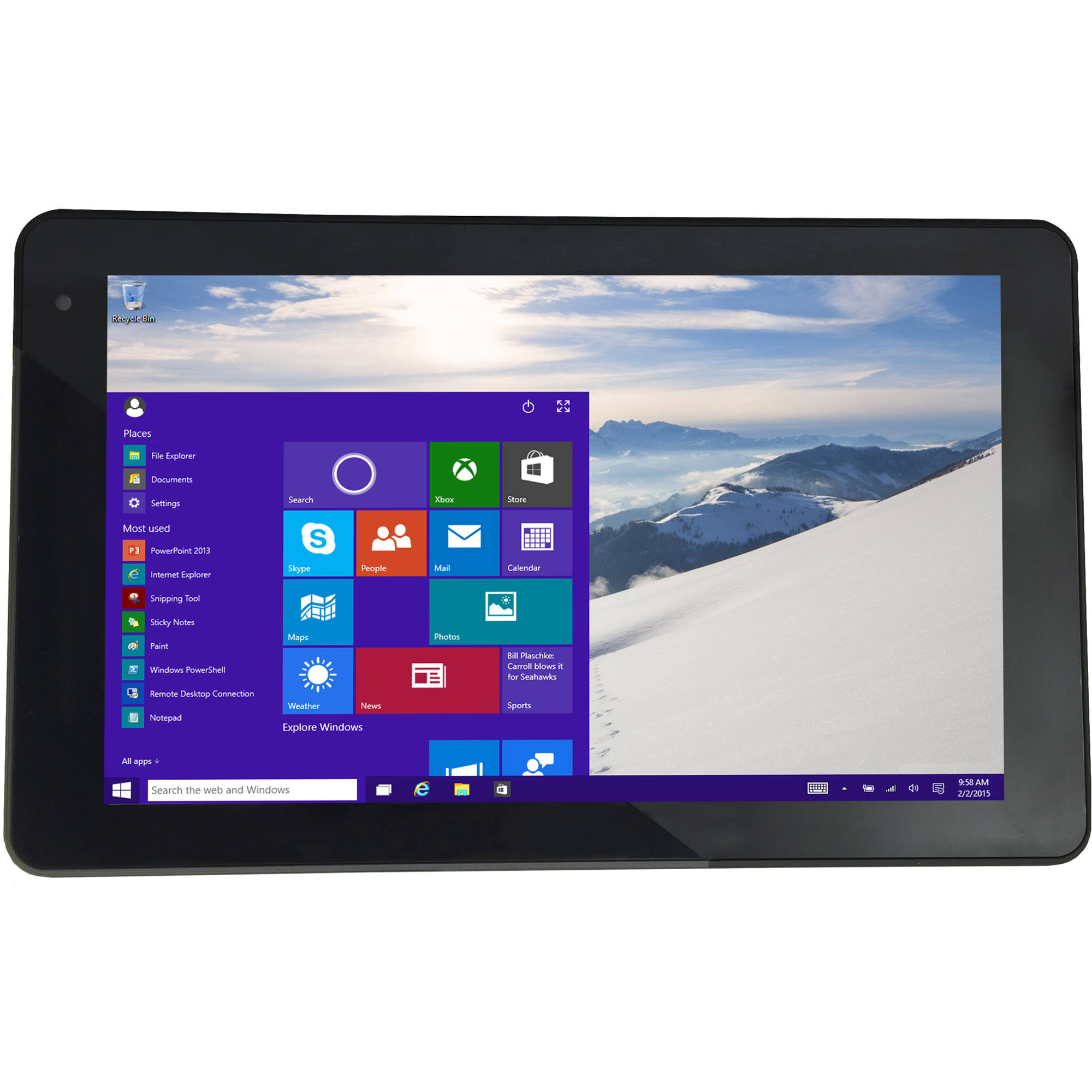 "Vulcan Omega 8.95"" Tablet 16GB Intel Atom Z3735G Quad-Core Processor Windows 10 Operating System"