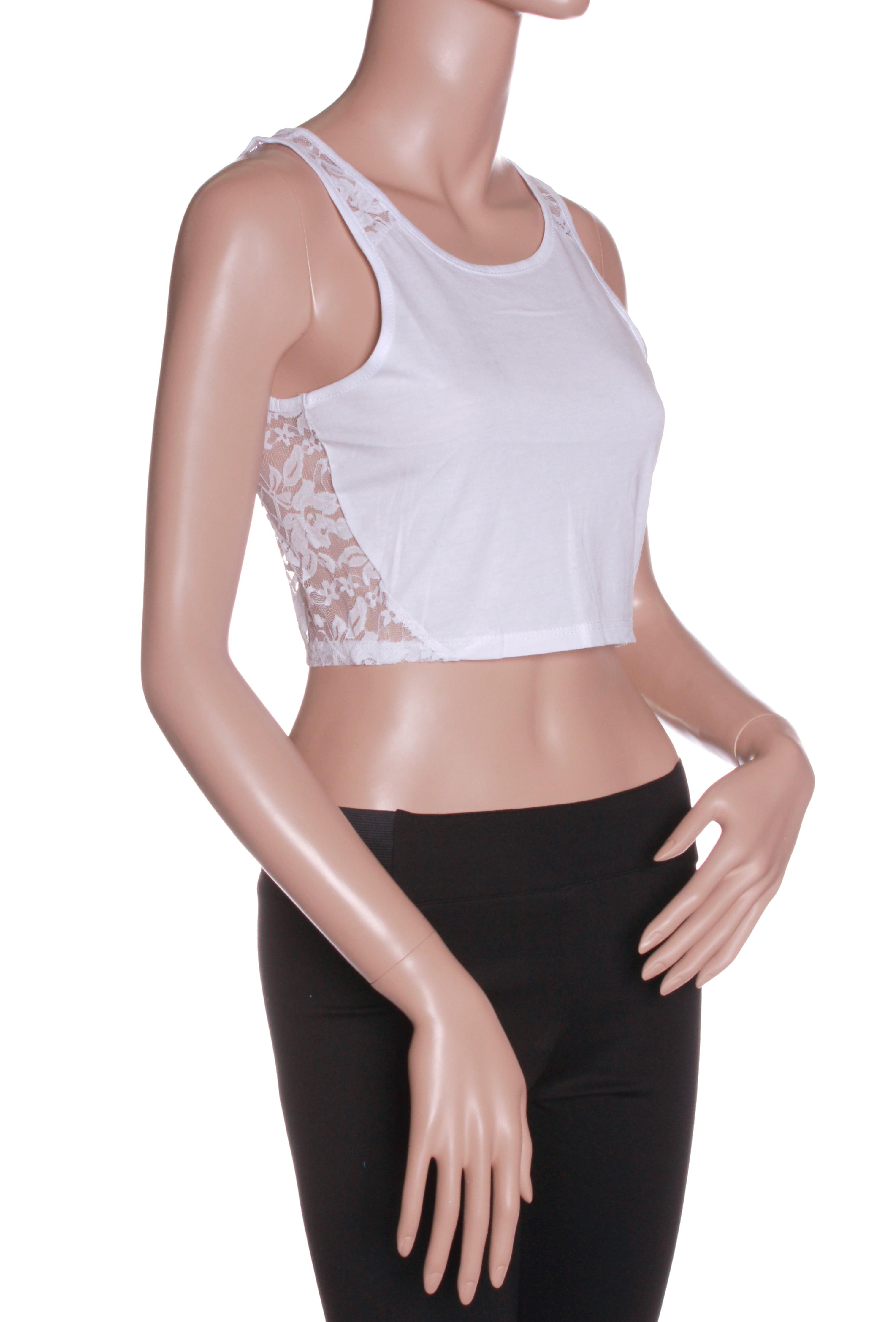 Emmalise Clothing Junior Women's Sexy Lace Crop Tank Top Short Sleeves Shirt Blouse -