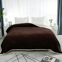 Soft Warm Lightweight Microfiber Plush Flannel Fleece Bed Blanket, Queen, Coffee Color