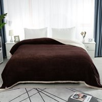 "Soft Warm 3 Layers Solid Soft Thick Fleece Blanket for Bed Couch Sofa Queen 78x90"" Coffee Color"