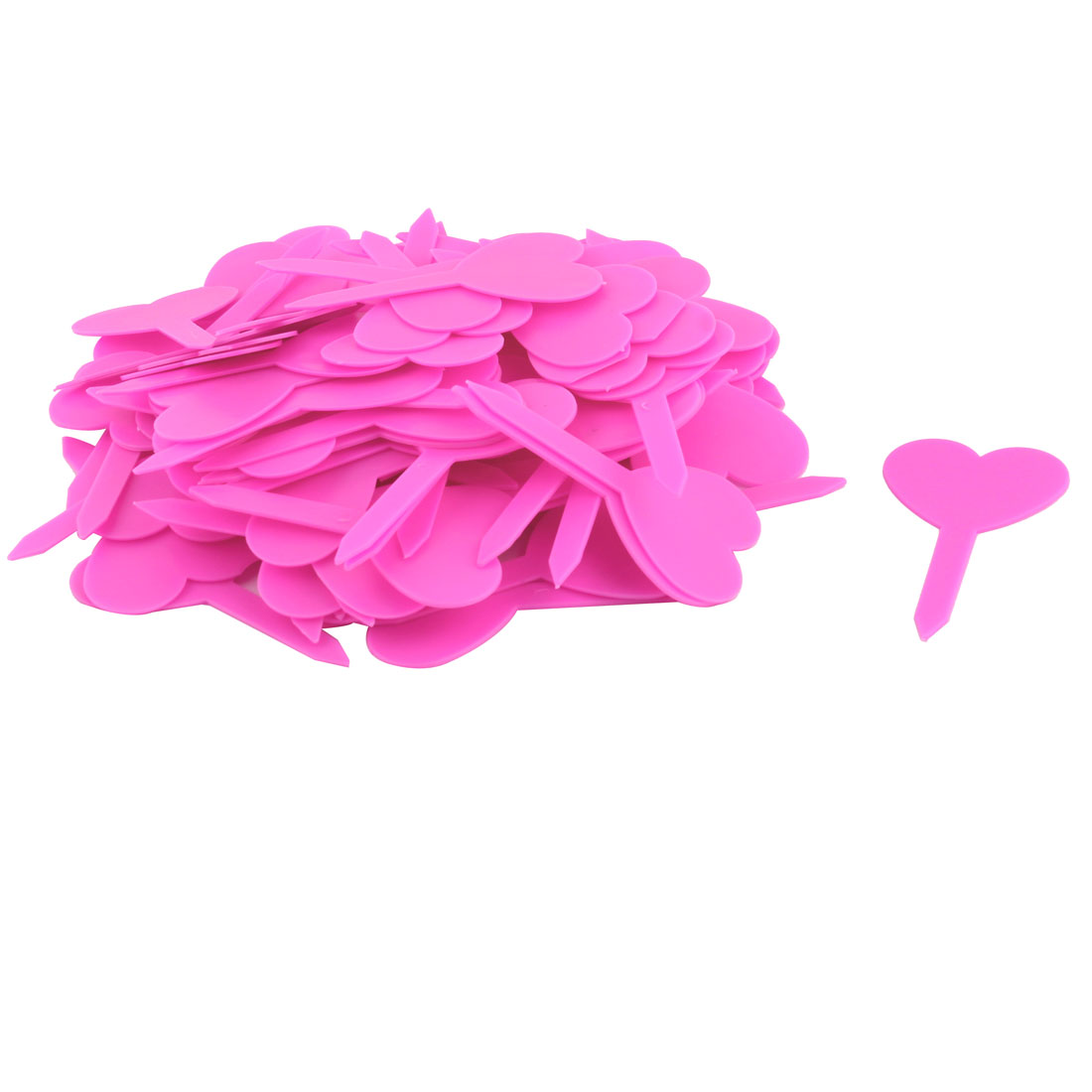 Household Garden Plastic Heart Shaped Plant Seed Tag Label Marker Pink 100pcs