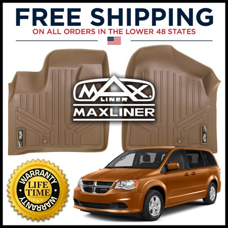 Maxliner 2008-2019 Dodge Grand Caravan 2008-2016 Chrysler Town & Country Floor Mats First Row Set Tan A1046 2007 Tan 1st Row