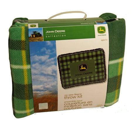 John Deere Green Plaid No-Sew Fleece Throw (John Deere Infant Fleece)