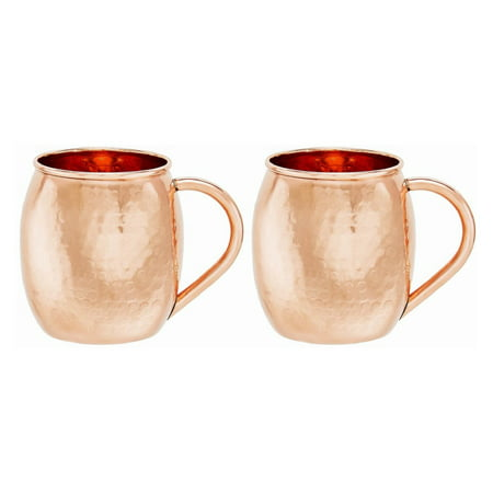 Copper Revival Collection - Solid Copper Hammered Moscow Mule Mugs, 16 Oz., Set of 2