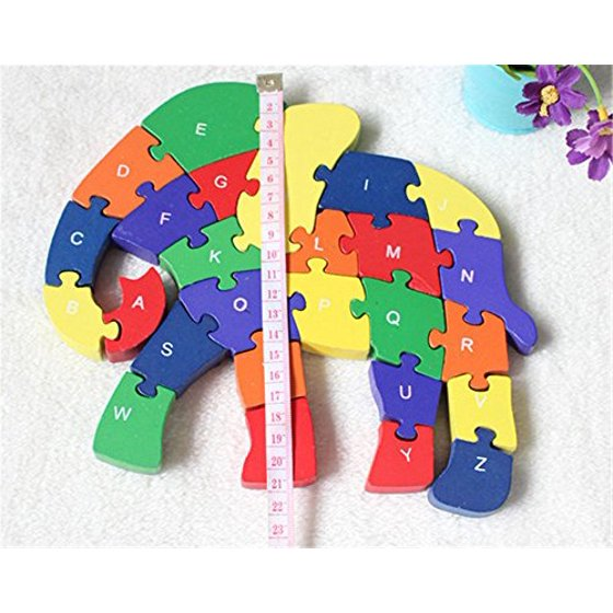 Early Learning Elephant Design Educational 26 English Letters Puzzles Set Blocks Brain Games Toy For Children Toddlers Kids Home