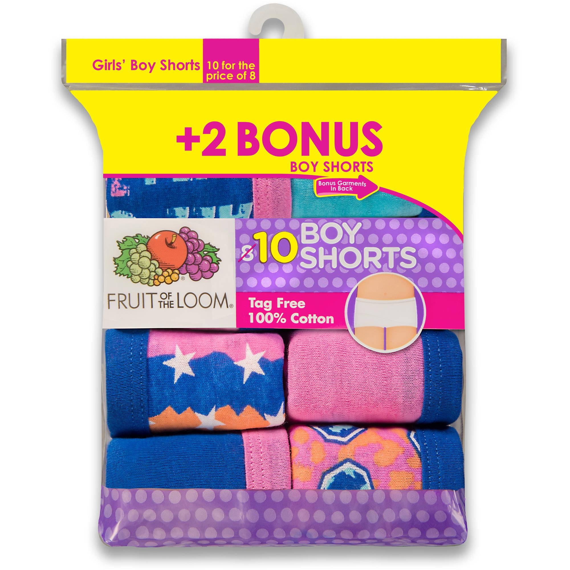 Fruit of the Loom Girls' 100% Cotton Boy Short Panty, 8+2 Bonus Pack