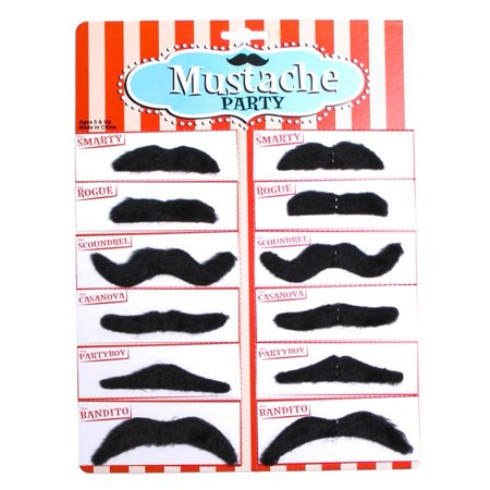 Novelty Adhesive Black 12 Piece Fake Mustache Set - Pack of 1 - Mustache Fake