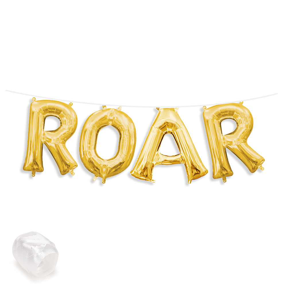 "Air-Fillable 13"" Gold Letter Balloon Kit ""ROAR"" Party Supplies"