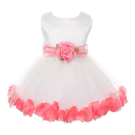 Baby Girls Ivory Coral Floral Petals Organza Sash Flower Girl Dress