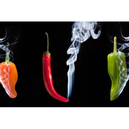 Red Green and Orange Hot Chilli Peppers with Smoke Coming out of Tips Print Wall Art By