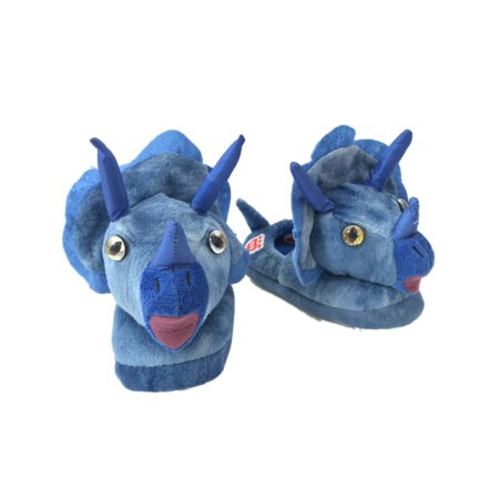 Build A Bear Boys Blue Triceratops Dinosaur Slippers Dino House Shoes - Dinosaurs Shoes
