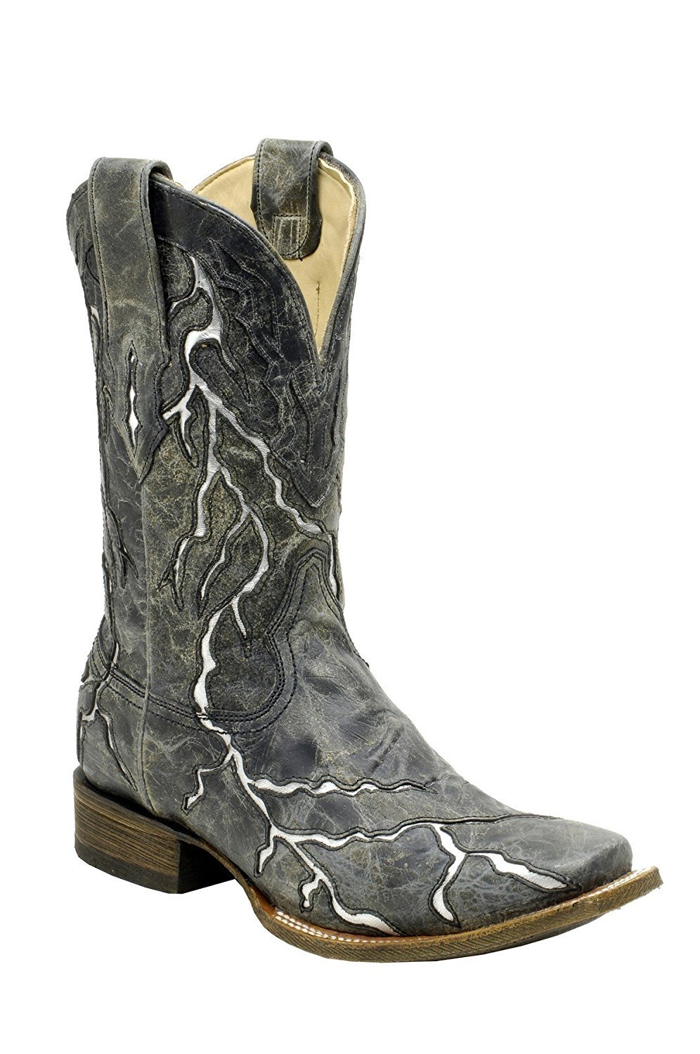 CORRAL Men's Black Lightning Square Toe Cowboy Boots A1323 (14 EE(W) US)