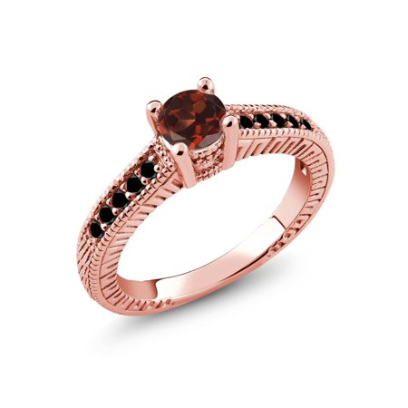0.77 Ct Red Garnet Black Diamond 925 Rose Gold Plated Silver Engagement Ring ()