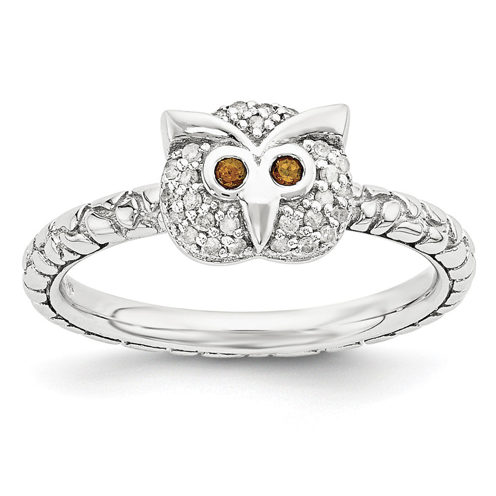 Sterling Silver Garnet & .135 Ctw I3 H-I Diamond 7mm Owl Stack Ring by Stackable Expressions