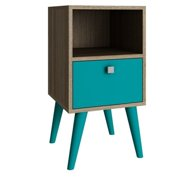 Manhattan Comfort Abisko End Table in Oak Aqua