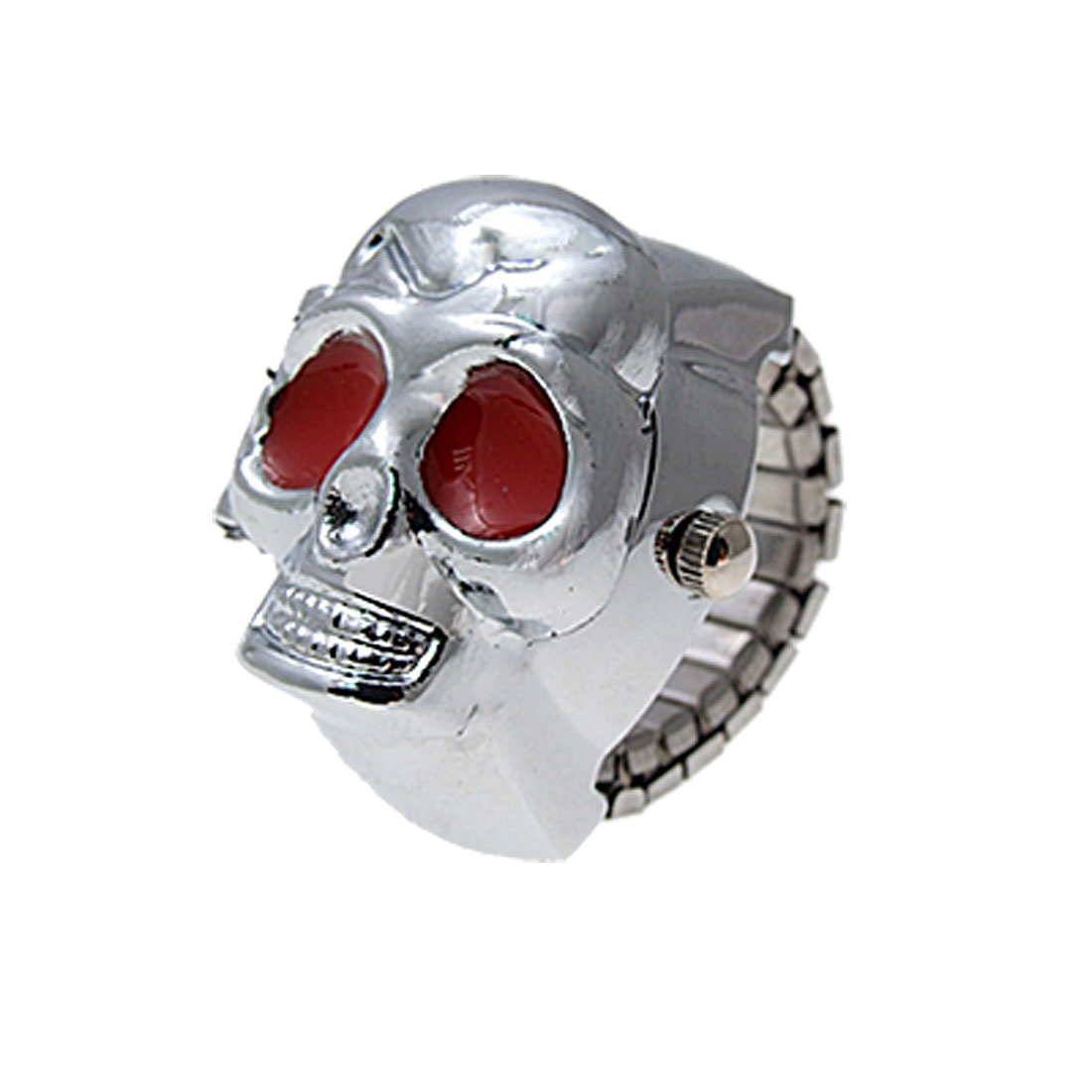 Alloy Skull Flip Open Finger Ring Watch Silver Tone