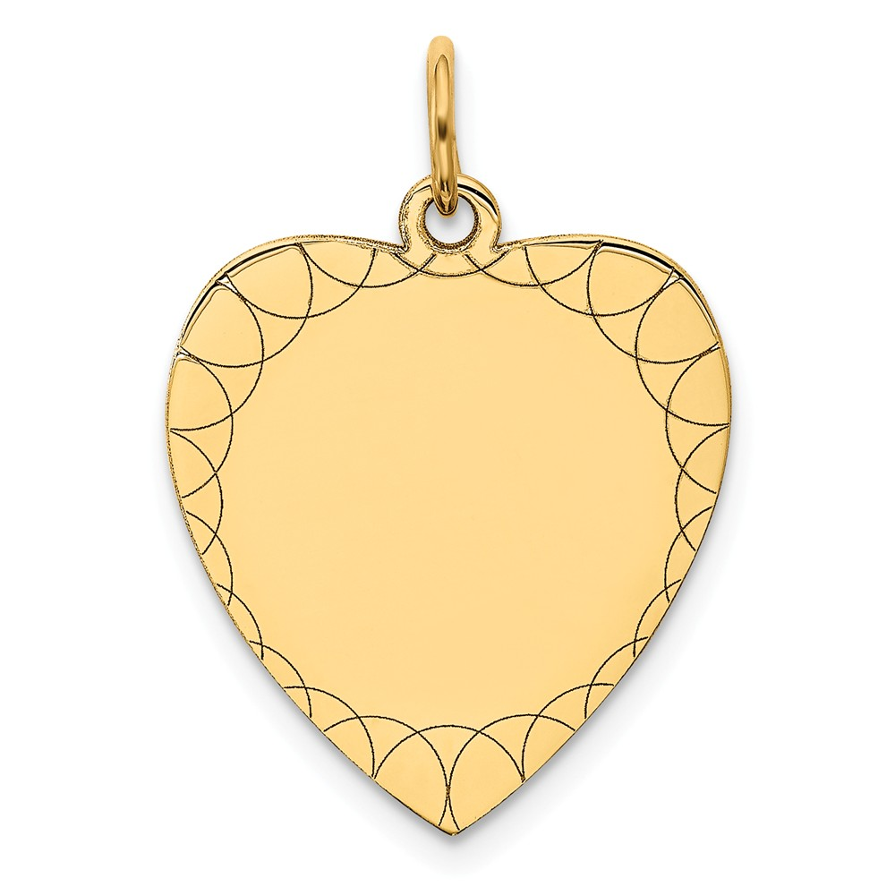 14k Yellow Gold Etched 0.018 Gauge Engravable Heart Disc Charm (0.9in long x 0.6in wide)