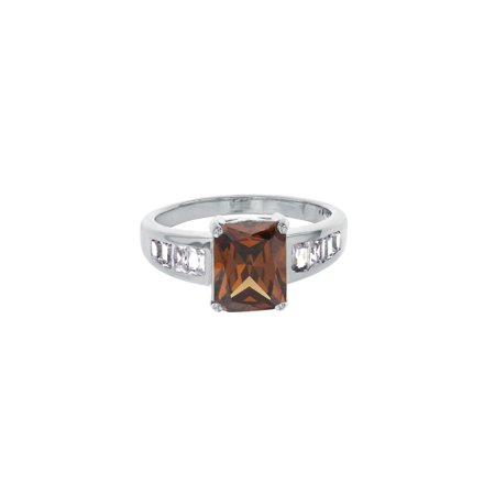 Sterling Silver Rhodium Chocolate CZ Rectangle Ring