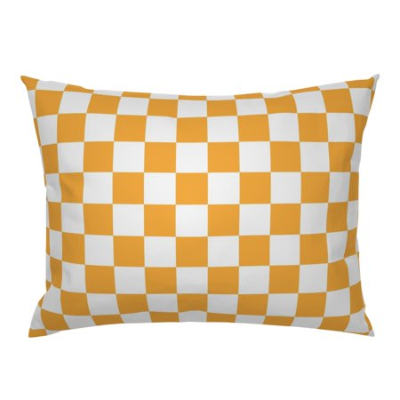 Vols Volunteers Tennessee Tennessee Plaid Orange Plaid Pillow Sham by Roostery Tennessee Volunteers Square Pillow