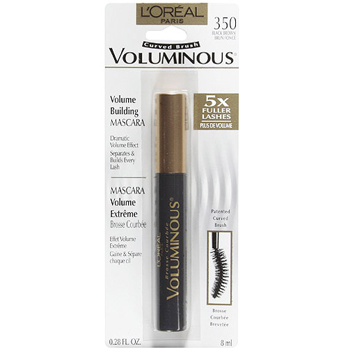 L'oreal Paris Voluminous Curved Brush Mascara, Black Brown, 0.28 fl oz