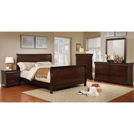 Eastern King Size Sleigh Bed Brown Cherry Color Dresser Mirror Nightstand  4pc Set Solid Wood Bedroom Furniture Modern Antique
