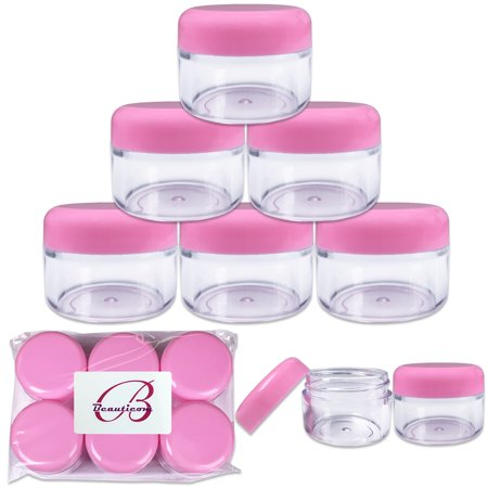 6 pcs High Quality 30 Gram/ML 1 Oz Plastic Round Top Container Jars for Cosmetic, Jewelry, Beads, art craft supplies, candy, cream -BPA Free (Pink)