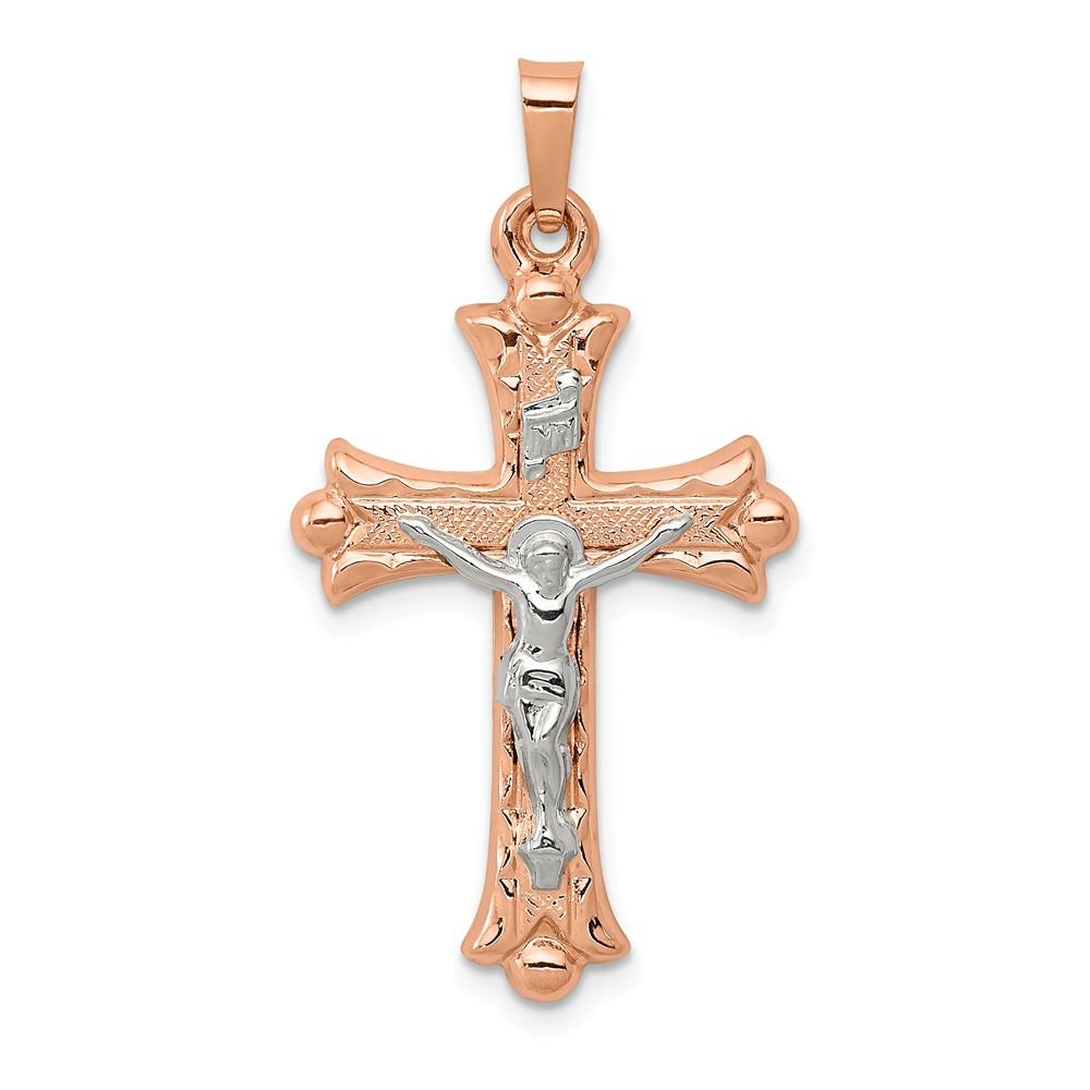 14k Two Tone Gold Hollow Fleur de Lis Crucifix Pendant
