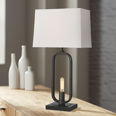 Franklin Iron Works Shirley Black Metal Table Lamp with LED Night Light