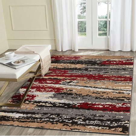 LR Home Infinity 5x7 Red Black Cream Gray Brown Multi Abstract Distressed Indoor Contemporary Modern Area Rug - 5 ft. 2 in. x 7 ft. 2 (Cream Brown Area Rug)
