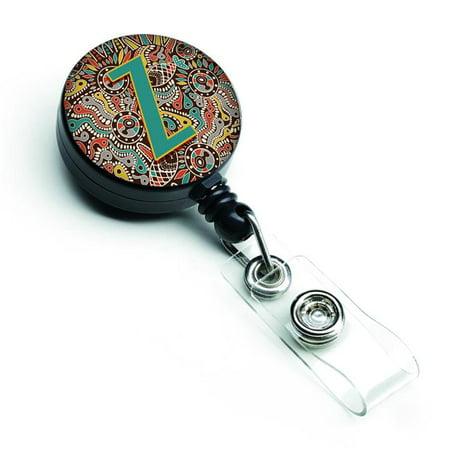 Carolines Treasures CJ2013-ZBR Letter Z Retro Tribal Alphabet Initial Retractable Badge Reel - image 1 de 1