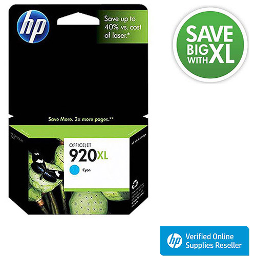 HP 920XL High-Yield Cyan Original Ink Cartridge in Retail Packaging, CD972AN
