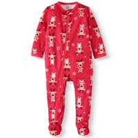 Matching Family Christmas Pajamas Baby Boy or Girl Unisex Reindeer Union Suit Microfleece Blanket Sleeper