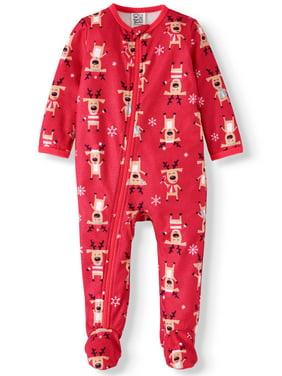 Matching Family Christmas Pajamas Baby Boy or Girl Unisex Reindeer Union Suit Microfleece Blanket Sleeper