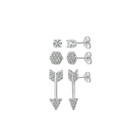 Sterling Silver Rhodium Plated White Cubic Zirconia 3 Piece Pave, Circle and Arrow Stud Earrings Set (3 Piece Set Stud Earrings)