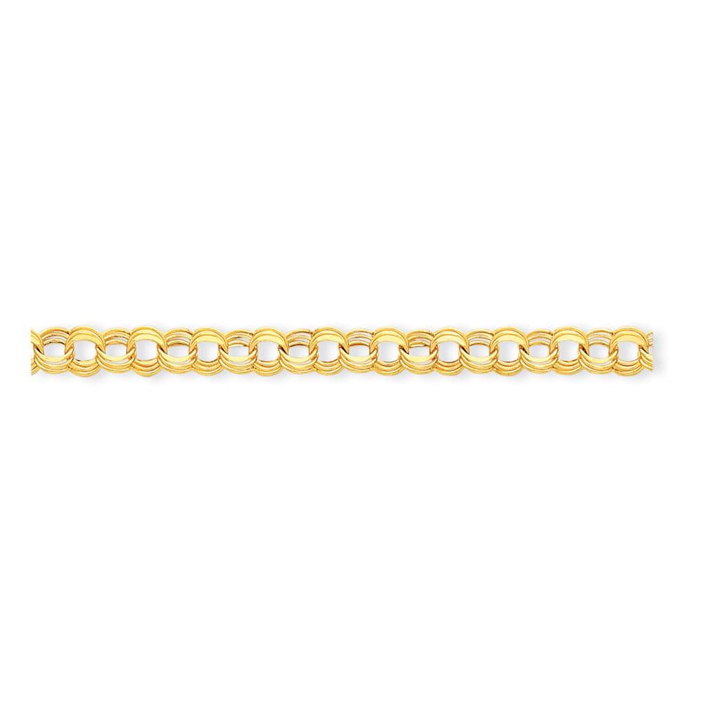 """14K Yellow Gold Lite 8mm Triple Link Charm Bracelet -8.25"""" (8.25in x 8.5mm) by"""