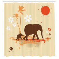 Elephants Decor Shower Curtain Set, Mother And Baby Elephants In Tropical Lands Desert Illustration Of Safari Kids, Bathroom Accessories, 69W X 70L Inches, By Ambesonne