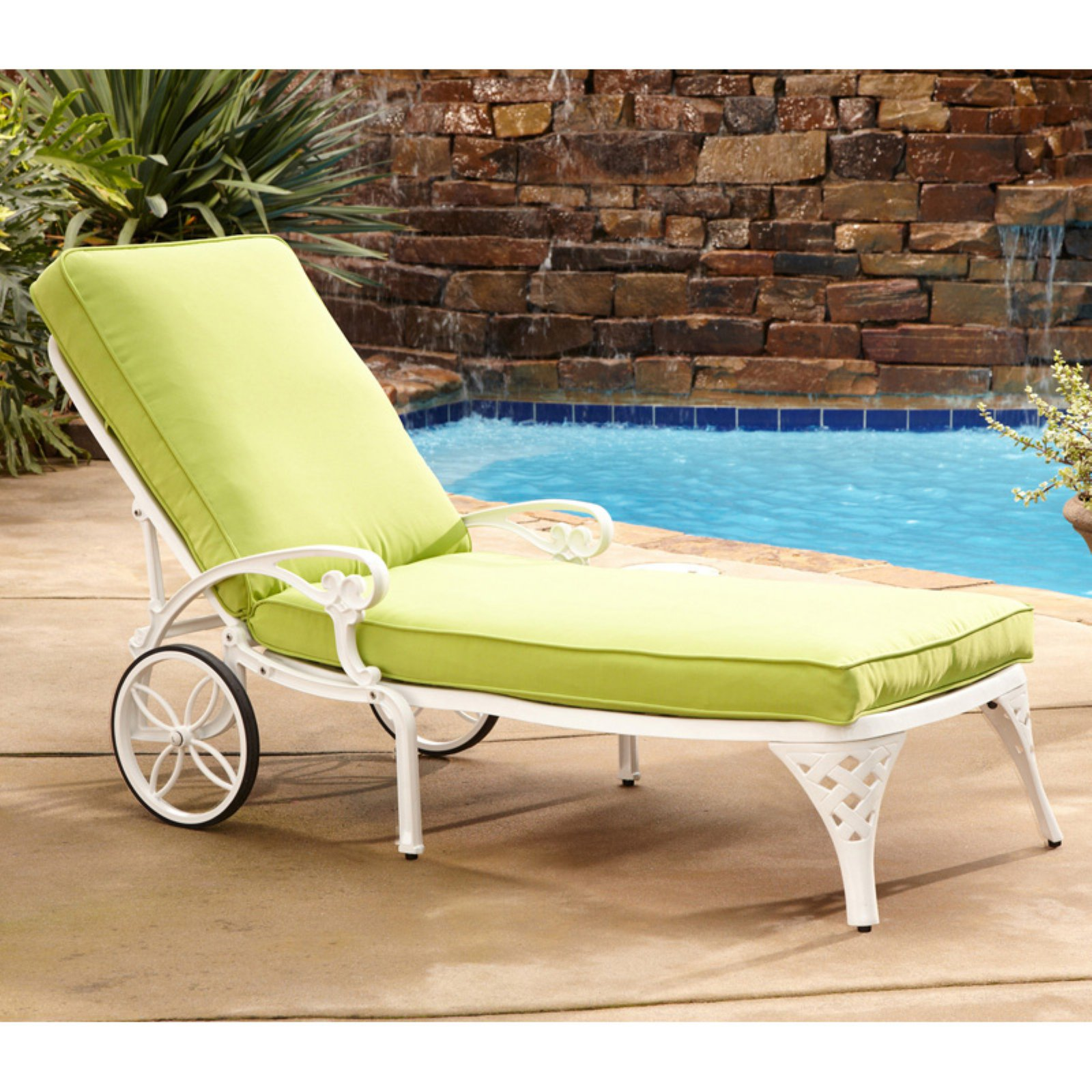 Home Styles Biscayne Chaise Lounge Chair with Cushions, Set of 2