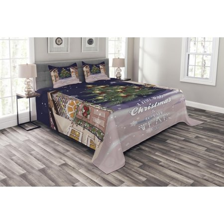 Christmas Bedspread Set, Winter Setting Streets Filled with Snow Traditional Pine Tree Ribbons Carol Quote, Decorative Quilted Coverlet Set with Pillow Shams Included, Multicolor, by Ambesonne