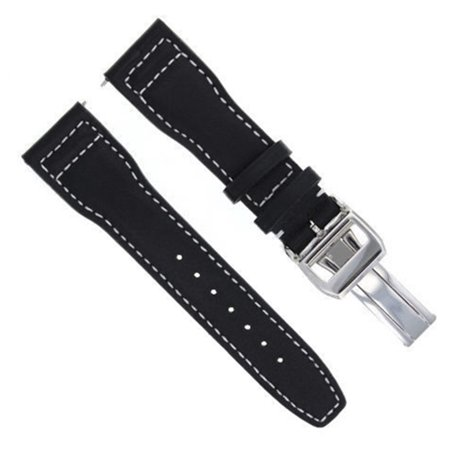 23MM LEATHER WATCH STRAP BAND FOR IWC PORTUGUESE PILOT SHINY CLASP BLACK WS#SC-1 (23mm Leather Watch Band)