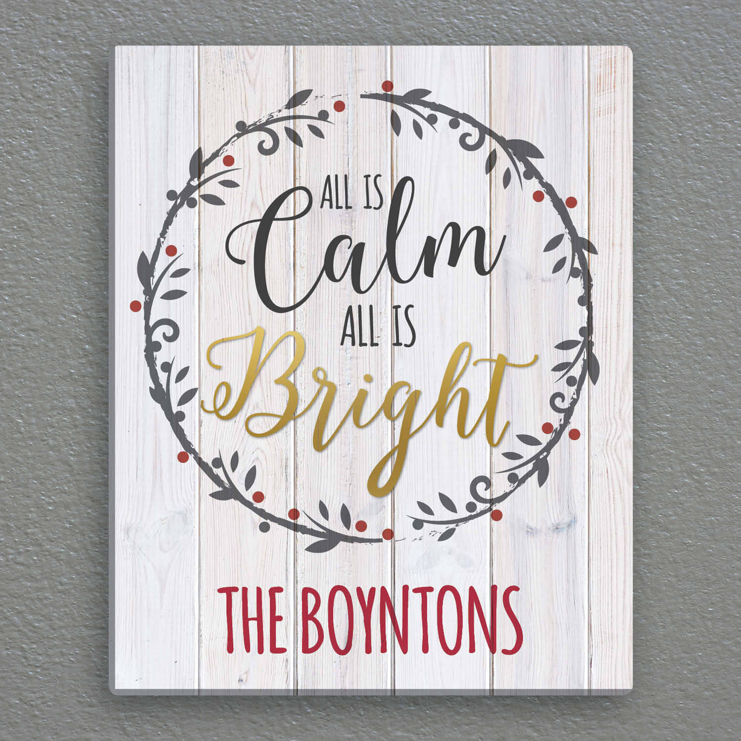 "All Is Calm All Is Bright Personalized 16"" x 20"" Canvas"
