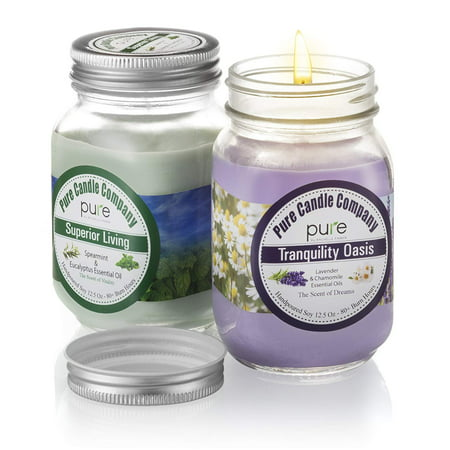 Mason Jar Soy Candle - Pure by Rachelle Parker PURE Naturally Scented Aromatherapy Candles Gift Set, 2-Pack Lavender Essential Oil Soy Candles Large Mason Jar, 12.5 oz. Natural Home Fragrance Yankee Candle 80+ Hrs Burn