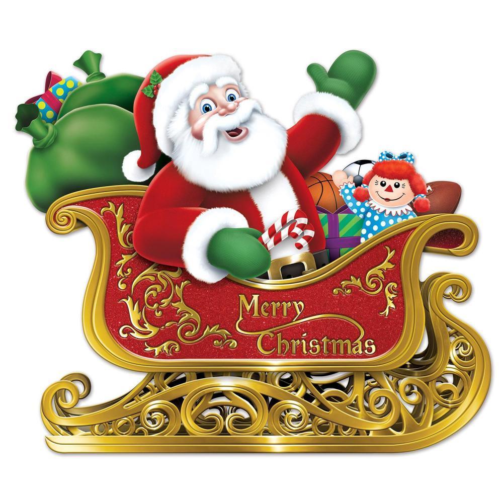 (Pack of 12) Beistle Santa In Sleigh Cutout