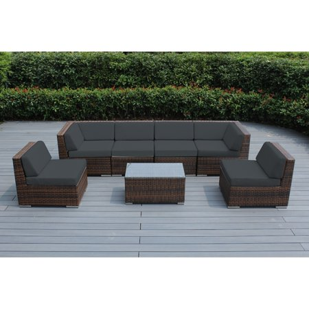 Ohana 7 Piece Outdoor Wicker Patio Furniture Sectional Conversation
