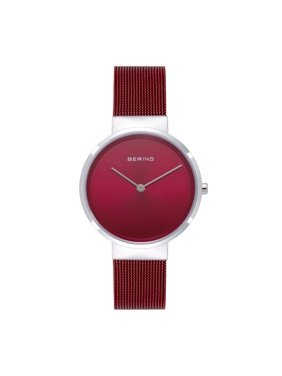 BERING Women's Classic Watch With Silver Case & Red Mesh Strap